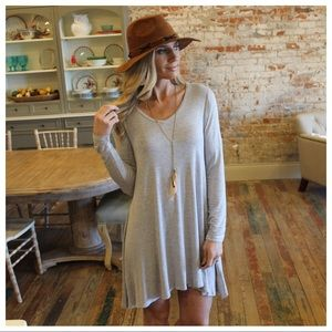 Gray long sleeve v neck dress